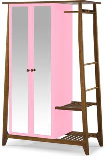 Armário Multiuso 2 Portas Stoka 982 Nogal/Rosa Cristal - Maxima