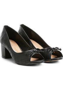 Peep Toe Shoestock Salto Grosso Matelassê - Feminino-Preto