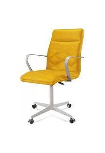 Cadeira Office Billy Amarelo Base Cromada 97Cm - 61300 Amarelo
