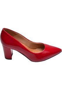 Sapato Feminino Salto Médio Bico Fino Offline Vermelho Verniz