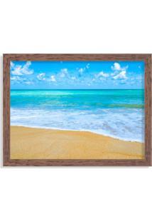 Quadro Decorativo Praia Tropical Azul Madeira - Médio