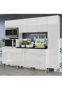 Cozinha Compacta 9 Portas 3 Gavetas Alice 0429T Branco - Genialflex