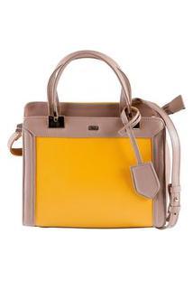 Bolsa Feminina Mayon 5220 Tote Couro Bolonha Amarelo
