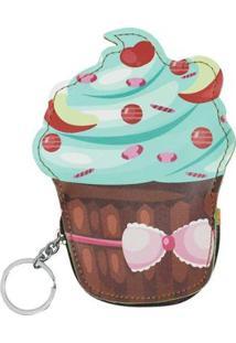 Porta Moedas Glamour Chaveiro Cupcake - Feminino-Marrom
