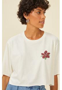 Amaro Feminino T-Shirt Cropped Malha Sustentável Estampa Costas, Off-White