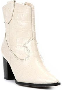 Bota Cano Curto Shoestock Western Couro Feminina - Feminino-Off White