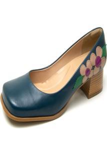 Sapato Boneca Em Couro Miuzzi Marinho/Rose