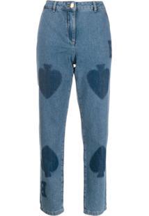 Boutique Moschino Calça Jeans Estampada - Azul