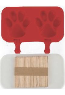 Forma De Picolé Em Silicone Patas 2 Cavidades E 50 Palitos Vermelho