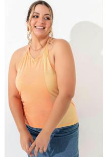 Blusa Laranja E Amarela Com Amarração Plus Size