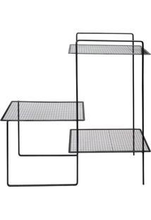 Prateleira De Chão- Preta- 91X90X26Cm- Decor Gladecor Glass