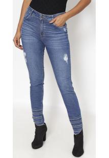 722fdec24 ... Jeans Skinny Com Bordado- Azul Escuro- Zincozinco
