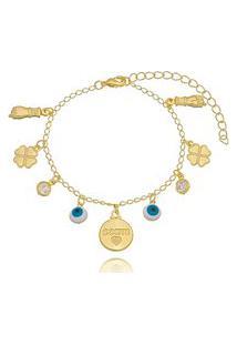 Pulseira Soloyou Amuletos Da Sorte Com Zircônia Branca Em Ouro 18K