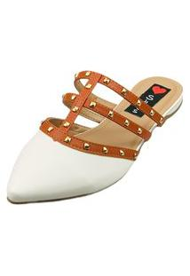Sapatilha Bico Fino Love Shoes Mule Spikes Detalhes Valentino'S Off White