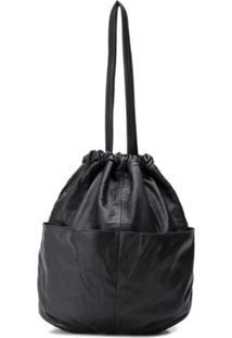 Yohji Yamamoto Drawstring Bucket Bag - Preto