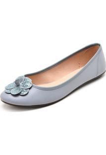 Sapatilha Moleca Flor 3D Azul