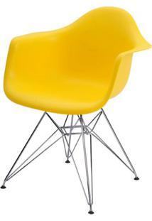 Cadeira Eames Eiffel Com Braco Polipropileno Cor Amarelo Base Cromada - 44919 - Sun House