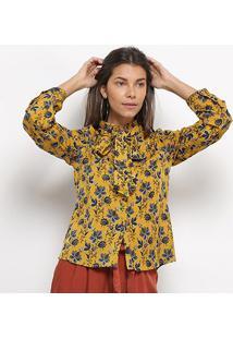 Camisa Manga Longa Heli Floral Babado Laço Feminina - Feminino-Amarelo