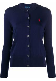 Polo Ralph Lauren Cardigan Com Logo Bordado - Azul