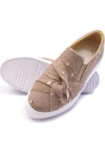 Sapatenis Click Calcados Tecido Jeans Feminino - Feminino-Marrom