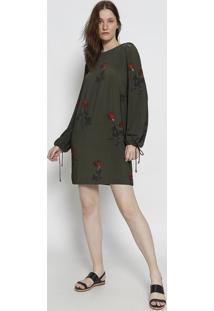 Vestido Rosas Com Linho - Verde Escuro & Vermelhoosklen