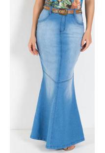 Saia Longa Moda Evangélica Modelo Sereia Azul