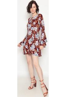 Vestido Com Amarração- Vinho & Rosa- Operateoperate