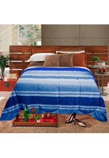 Edredom Casal Slim Hedrons Plush Soft Listrado Azul