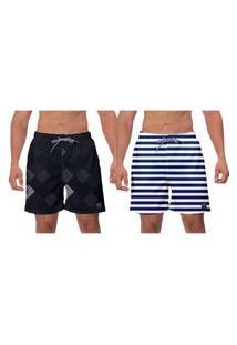 Kit 2 Short Preto Branco Listras Azuis Verão Esporte Surf Vôlei Banho Ajustável W2