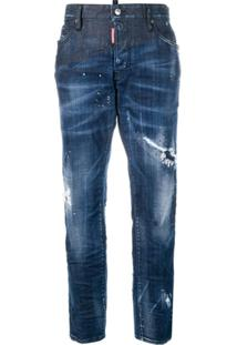 Dsquared2 Boyfriend Distressed Cropped Jeans - Azul