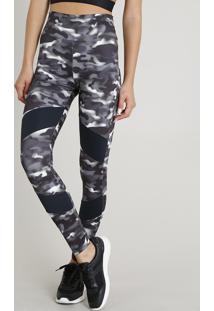 Calça Legging Feminina Esportiva Ace Estampada Camuflada Com Recorte Proteção Uv50+ Preta
