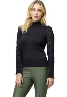 Blusa Mx Fashion De Tricot Gola Alta Tammy Preta