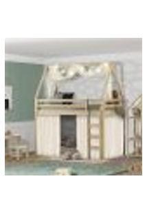 Beliche Montessoriana Prime Com Telhado Vi E Tenda Natural/Creme-Casatema