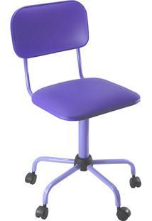 Cadeira Secretária Laminada Color Pistão Fixo Corano Roxo - At.Home