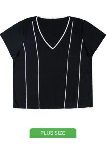 Blusa Em Tecido Flex Com Decote V Preto