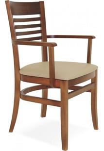 Cadeira Estofada Com Braços Paris Marie Tramontina Amêndoa/Bege