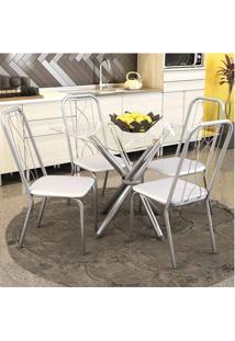 Conjunto Mesa Volga Com Tampo De Vidro E 4 Cadeiras Viena Cromado, Assento Cor Branco