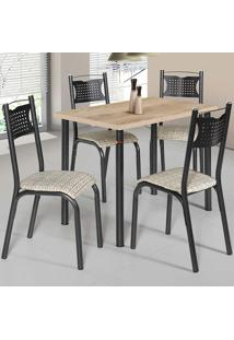 Conjunto De Mesa Com 4 Cadeiras - Poeme - Ciplafe - Junco Manteiga