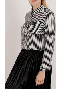 Camisa Manga Longa Feminina Branco/Preto