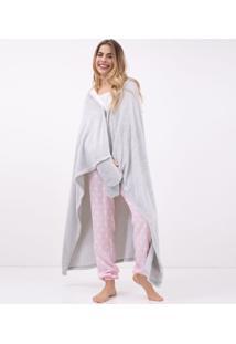 Robe Em Fleece Com Bordado Gatinho