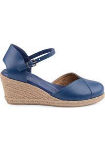 Anabela Comfort Corda Feminina Fechada Couro Fun Colors Azul/34