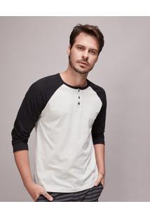 Camiseta Masculina Raglan Com Botões Manga Longa Gola Careca Cinza Mescla Claro