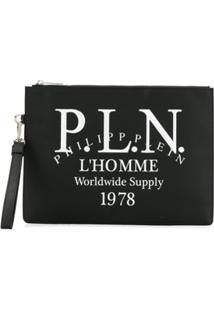 Philipp Plein Logo Print Clutch - Preto