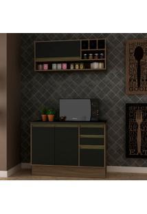 Cozinha Compacta Safira 3 Pt 3 Gv Preta E Avelã