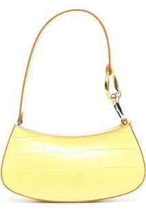Staud Ollie Crocodile-Effect Shoulder Bag - Amarelo