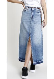 Saia Jeans Feminina Longa Com Fenda Barra Desfiada Com Cinto Azul Médio