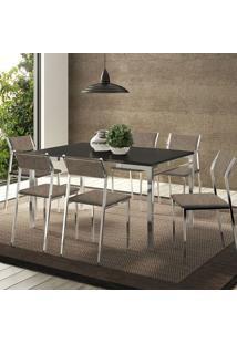 Mesa 1526 Preta Cromada Com 6 Cadeiras 1709 Camurça Conhaque Carraro
