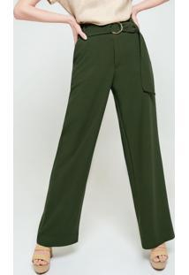 Calça Pantalona Verde Militar