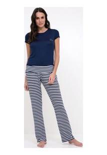 Pijama Manga Curta Com Barra E Calça Listrada