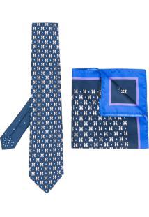 Etro Conjunto De Gravata E Lenço De Bolso De Seda - Azul
